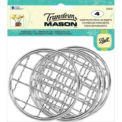 Transfrom Mason(R) Lid Inserts 4/Pkg Silver Frog  Wide Mouth - 1026292