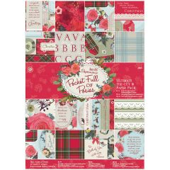 Papermania Ultimate A4 Die Cuts & Paper Pack 48/Pkg Pocket Full Of Posies - PM160936