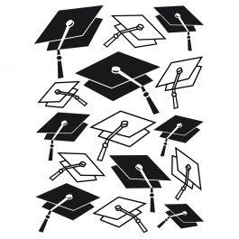 "Embossing Folder 4.25""X5.75"" Graduation Hat Background - EB12-18-48"