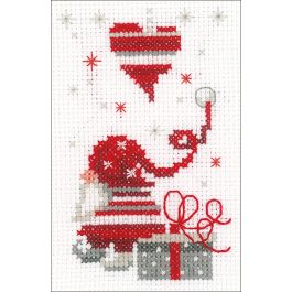 "Vervaco Greeting Card Counted Cross Stitch Kit 4.25""X6"" Christmas Gnomes 3/Pkg (14 Count) - V0165989"