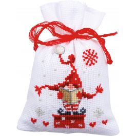 "Vercaco Sachet Bags Counted Cross Stitch Kit 3.25""X4.5"" Christmas Gnomes 3/Pkg (14 Count) - V0165994"