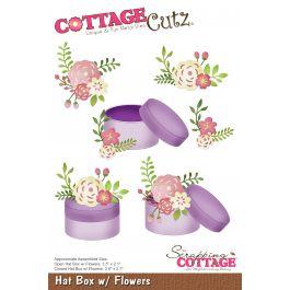 """Cottagecutz Die Hat Box W/Flowers 2.1"""" To 3.5"""" - CC455"""