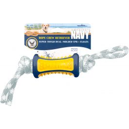 "Us Navy Buoy Retrieval Rope Chew 12""X2.5"" Dog Toy Yellow/Blue - NVD4"