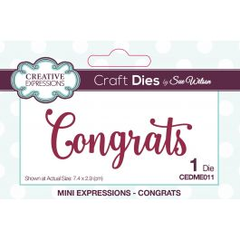 Creative Expressions Craft Dies By Sue Wilson Congrats - CEDME011