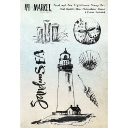 """49 And Market Clear Stamps 4""""X6"""" Sand & Sea Lighthouse - SS86639"""