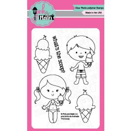 """Pink & Main Clear Stamps 3""""X4"""" The Scoop - PM0228"""