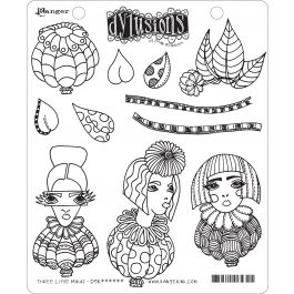 """Dyan Reaveley'S Dylusions Cling Stamp Collections 8.5""""X7"""" Three Little Maids - DYR-63247"""