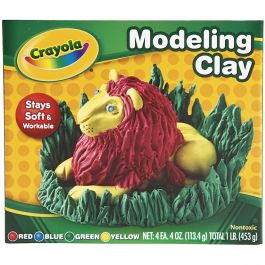 Crayola Modeling Clay 4Oz 4/Pkg Red, Blue, Green & Yellow - 57-0300