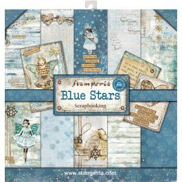 """Stamperia Double Sided Paper Pad 12""""X12"""" 10/Pkg Blue Stars, 10 Designs/1 Each - SBBL35"""