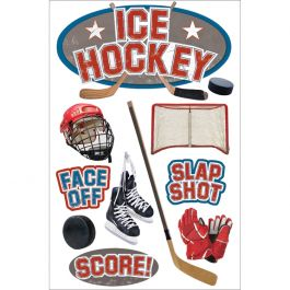 """Paper House 3D Stickers 4.5""""X7.5"""" Ice Hockey - STDM0126"""
