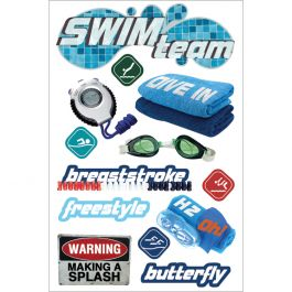 """Paper House 3D Stickers 4.5""""X7.5"""" Swimming - STDM0127"""