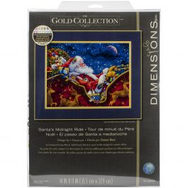 "Dimensions Gold Collection Counted Cross Stitch Kit 14""X11"" Santa'S Midnight Ride (18 Count) - 70-08934"