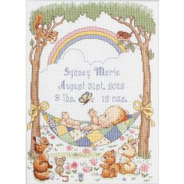 """Bucilla Counted Cross Stitch Kit 10""""X13.5"""" Our Little Blessing Record (14 Count) - 45594"""