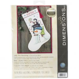 "Dimensions Counted Cross Stitch Kit 16"" Long Jolly Trio Stocking (14 Count) - 70-08937"