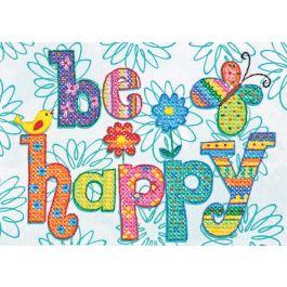 """Dimensions Mini Stamped Cross Stitch Kit 7""""X5"""" Be Happy - 70-65115"""