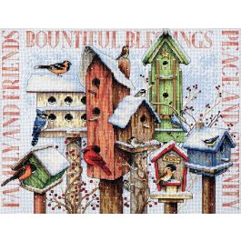 """Dimensions Counted Cross Stitch Kit 18""""X15"""" Winter Housing (14 Count) - 70-08863"""
