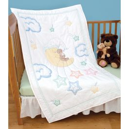 """Jack Dempsey Stamped White Quilt Crib Top 40""""X60"""" Bear On The Moon - 4060 113"""