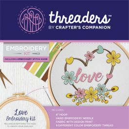 "Crafter's Companion Threaders Embroidery Kit 6""X6""-Love"
