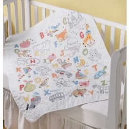 "Bucilla Stamped Crib Cover Cross Stitch Kit 34""X43"" Abc Baby - 47805"