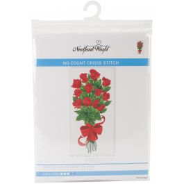 "Needleart World No Count Printed Cross Stitch Kit 11.5""X20"" Bouquet Of Red Rose Buds - NW40003"