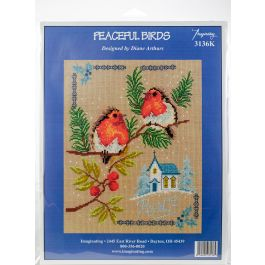 """Imaginating Counted Cross Stitch Kit 8""""X10"""" Peaceful Birds (14 Count) - I3136"""