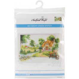 """Needleart World No Count Printed Cross Stitch Kit 22""""X16"""" Summer Cottage - NW40046"""
