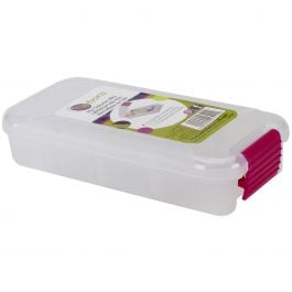 "Creative Options Pro Latch Utility Box 1 4 Compartments 6""X2.75""X1.25"" Clear W/Magenta - 1309-82"