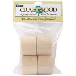 """Wood Turning Shapes Napkin Ring 1.25"""" 4/Pkg - 9112-68"""