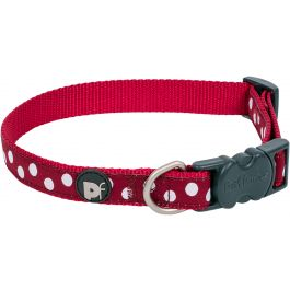 "Petface Dots Collar 8"" To 14"" Small Cherry & White - PET30348"