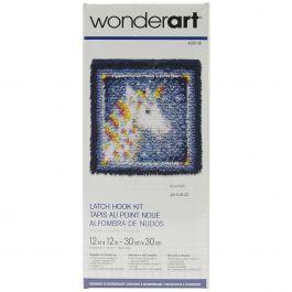 """Caron Wonderart Latch Hook Kit 12""""X12"""" Unicorn - 426135"""