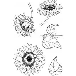 """Jane'S Doodles Clear Stamps 4""""X6"""" Sunflowers - 743177"""