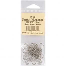 "Lacis Brass Ring Stitch Markers 3/8"" 50/Pkg - RY50SILV"