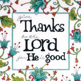 """Design Works Counted Cross Stitch Kit 10""""X10"""" Heartfelt Give Thanks (14 Count) - DW2792"""