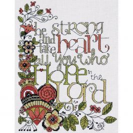 """Design Works Counted Cross Stitch Kit 8""""X10"""" Heartfelt Be Strong (14 Count) - DW2795"""