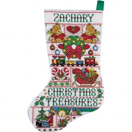 "Design Works Counted Cross Stitch Kit 17"" Long Chrisstmas Treasures (14 Count) - DW5960"