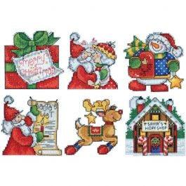 """Design Works Plastic Canvas Kit 3""""X4"""" Santa'S Workshop Ornaments (14 Count) - DW1692"""