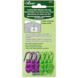 Locking Stitch Markers W/Clips 6/Pkg - 3165