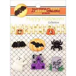 Buttons Galore Halloween Buttons 6/Pkg Happy Hauntings - HH-104