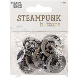 Blumenthal Steampunk Buttons Antique Silver Compass 9/Pkg - 5555ST-1814