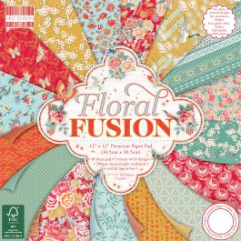"First Edition Premium Paper Pad 12""X12"" 48/Pkg Floral Fusion, 16 Designs/3 Each - FEPAD155"
