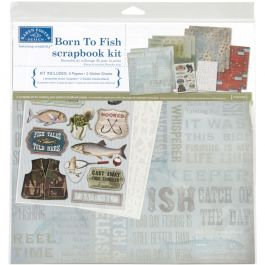 "Karen Foster Scrapbook Page Kit 12""X12"" Born To Fish - KF20528"