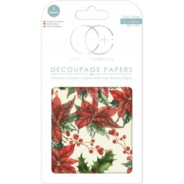 "Craft Consortium Decoupage Papers 13.75""X15.75"" 3/Pkg Christmas  Traditional Poinsettia - XDECP049"