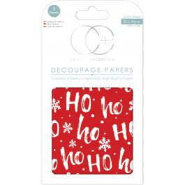 "Craft Consortium Decoupage Papers 13.75""X15.75"" 3/Pkg Christmas  Ho, Ho, Ho - XDECP051"