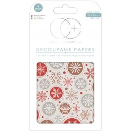 "Craft Consortium Decoupage Papers 13.75""X15.75"" 3/Pkg Snowball - XDECP052"