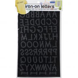 """Dritz Iron On Letters Soft Flock  1"""" Lemonade Black - LE100L-BK"""