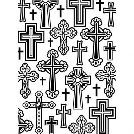 "Embossing Folder 4.25""X5.75"" Crosses - EB12-19106"