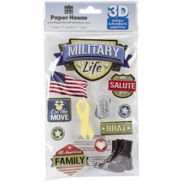 """Paper House 3D Stickers 4.5""""X7.5"""" Military Life - STDM213E"""