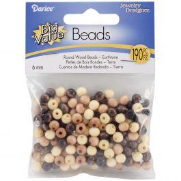 Round Wood Beads 6Mm 190/Pkg Earth Tones - 1905-08
