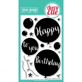 """Avery Elle Clear Stamp Set 4""""X6"""" Balloons - AE1418"""