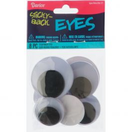 Sticky Back Wiggle Eyes Assorted 8/Pkg Black - EYE-ASST